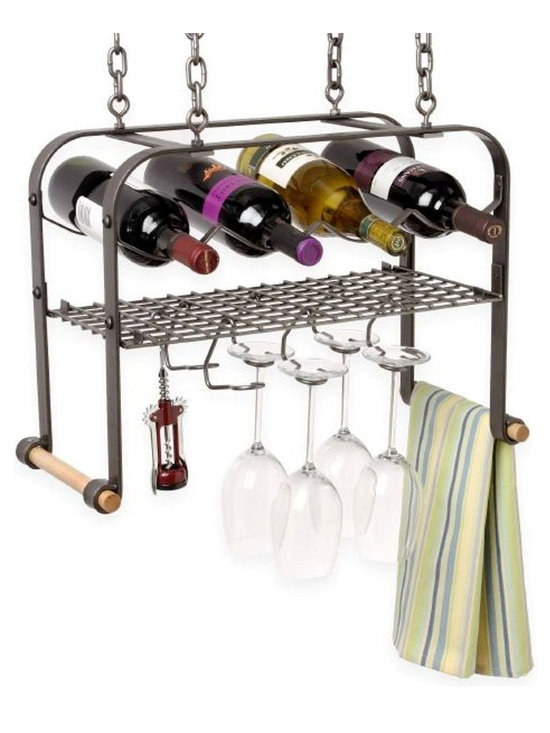 Enclume - Enclume Hanging Wine and Glass Rack 4 Bottle - Hang out at the hanging bar in your house, where everyone knows your name (and your favorite food pairings). This suspended wine rack holds four bottles, with an added grid for wine glasses and utensils. Six wineglass hooks, two wooden towel rods, four ceiling screw hooks and four six-inch pieces of chain are included, so you can customize your wine bar the second you receive it. Cheers!