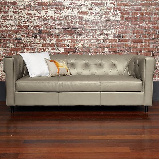 New Chester Tufted Leather Sofa Modern Sofas By West Elm