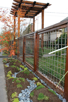 Fence, pathway, deck, hot tub surround eclectic-exterior