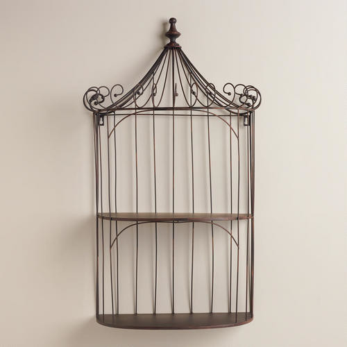 brown wrought iron shelf birdcage display and wall. Black Bedroom Furniture Sets. Home Design Ideas