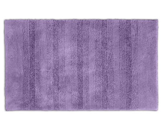 "Sands Rug - Westport Stripe Periwinkle Washable Bath Rug (2'6"" x 4'2"") - Classic and comfortable, the Westport Stripe bath collection adds instant luxury to your bathroom, shower room or spa. Machine-washable, always plush nylon holds up to wear, while the non-skid latex makes sure rugs stay in place."