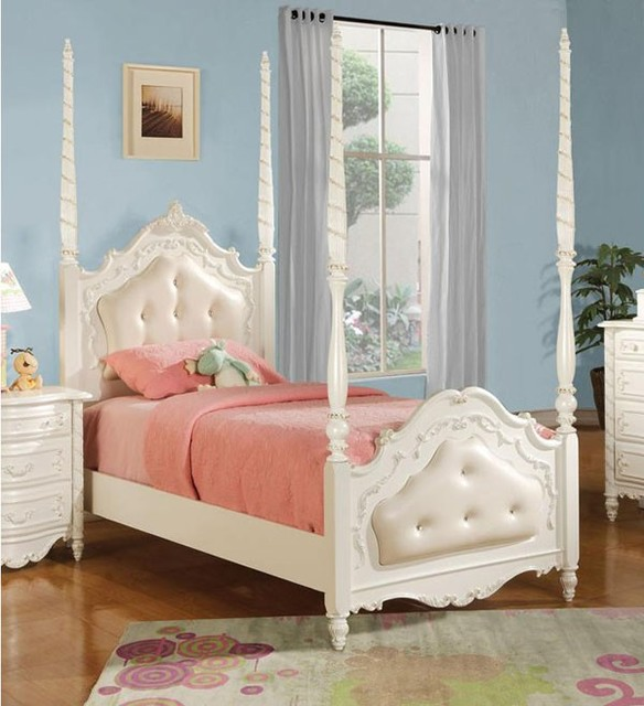 Acme Furniture Pearl White Finish Twin Poster Bed With