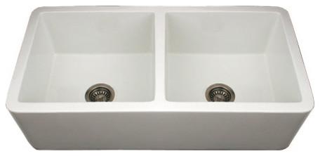 White Whitehaus WH3719 Double Bowl Fireclay Farmhouse Apron Front Kitchen S traditional-kitchen-sinks