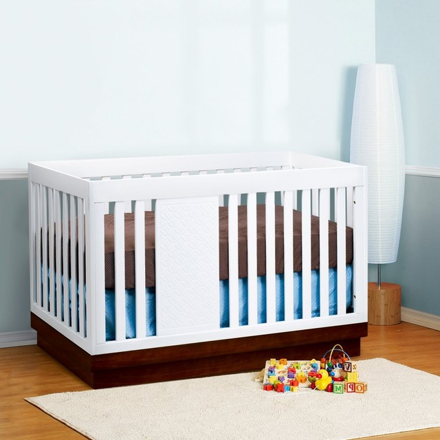Babyletto Harlow 3-in-1 Convertible Crib Collection - White/Espresso modern-cribs