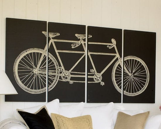 Tandem Bicycle Stretched Canvas, Set of 4 -