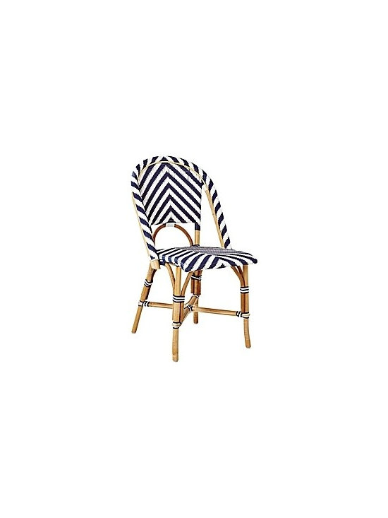 Chevron Riviera Side Chair – Navy | Serena & Lily -