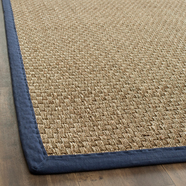 Hand Woven Sisal Natural Blue Seagrass Rug 8 X 10 Contemporary Rugs By Overstock Com