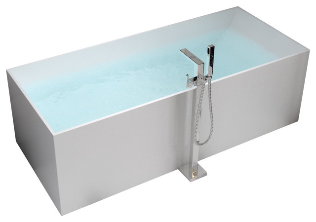 Adm white stand alone solid surface stone resin bathtub glossy modern bathtubs by adm - Stand alone bathtubs ...
