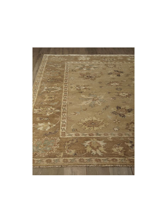 "Exquisite Rugs - Exquisite Rugs ""Journey"" Oushak Rug - An antique weave, neutral ground, and highlights of raw umber, soft blue, and chocolate add up to one irresistible, handmade Oushak rug. Durable and intended for foot traffic. Hand knotted of wool on a cotton foundation. Hand trimmed. Washed for an a..."