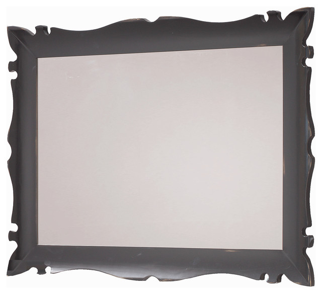 "Versalles 43"" 1/4 decorative mirror. Black-golden patina"