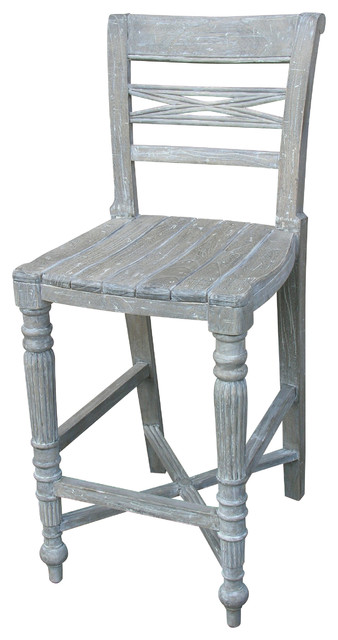 Hand Painted Raffles Wooden Seat Counter Stool Grey