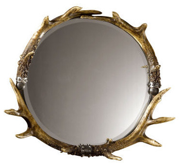 Rustic Faux Stag Horn Round Wall Mirror traditional mirrors