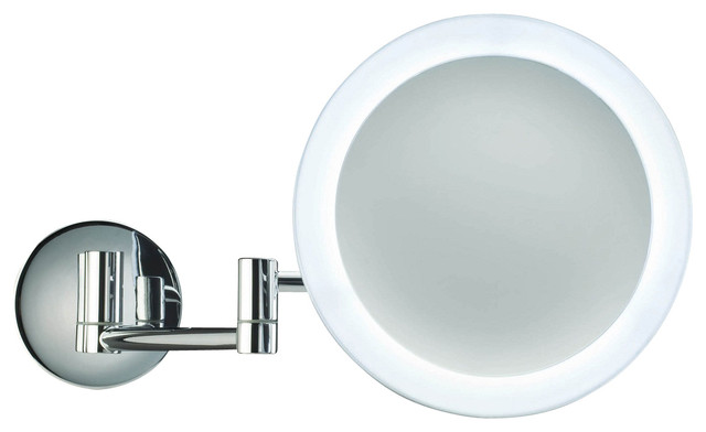 magnifying mirror illuminated in chrome 5x contemporary makeup mirrors. Black Bedroom Furniture Sets. Home Design Ideas