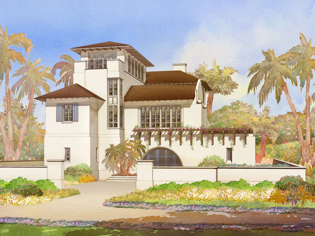 Siesta Key House, Rendering of Entry Front tropical exterior