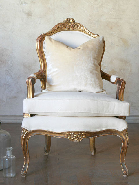 Antique Single Louis XVI French Style Gold Gilt Armchairs traditional armchairs