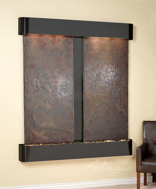 Slate Wall Mounted Water Features - The Cottonwood Falls with Rajah Slate contemporary-indoor-fountains