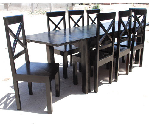 Oklahoma Ebony 9pc Dining Table Chair Set w Extension contemporary
