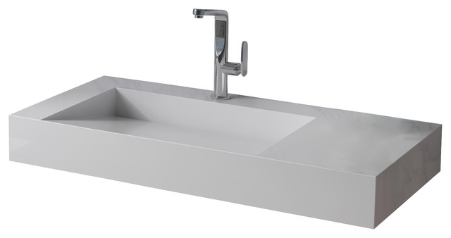 White Stone Sink : ADM White Wall Hung Stone Resin Sink - Modern - Bathroom Sinks - by ...