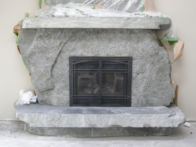 Grizzly Granite Slab Fireplace
