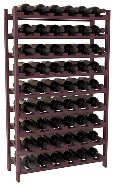 54 Bottle Stackable Wine Rack in Pine with Burgundy Stain + Satin Finish traditional-wine-racks