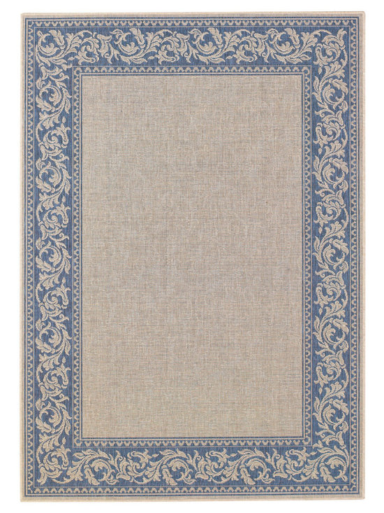 """Finesse Scroll rug in Blue - An esteemed """"Capel Anywhere"""" rug collection woven on precision machine looms in Europe. These versatile rugs can be used in high traffic areas indoors - like kitchens and sunrooms - or to dress up covered porches and decks outside."""