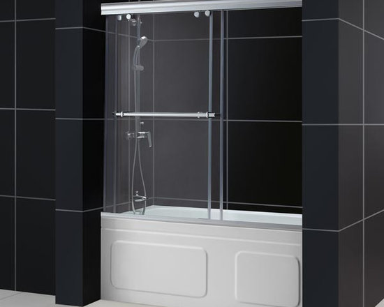 """DreamLine Charisma Frameless Sliding Bypass Tub Door 56-60"""" SHDR-1360588 - The unique design of the Charisma frameless bypass sliding shower door combines an upper and lower guide rail with two frameless sliding doors for a truly amazing look. Most bypass doors are designed with significant glass and wall frames – but the Charisma frameless """"no wall profile"""" design allows each of the frameless doors to slide effortlessly on perfectly engineered rails. Each door includes a convenient handle which may be also be used as a towel bar. The top and bottom guide rails of this door may be shortened by cutting up to 4"""" to fit required installation space."""