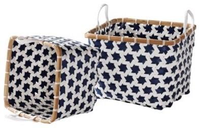 Navy Mercado Baskets  Set of 2 traditional-baskets
