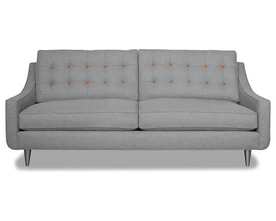 Apt2B.com - Cloverdale Sofa Grey, Mountain Grey/Sweet Potato - This cozy sofa is as comfortable as it is sophisticated. With an unexpected pop of color in the button tufting and a nice deep seat it's a perfect place to cuddle up with your date.