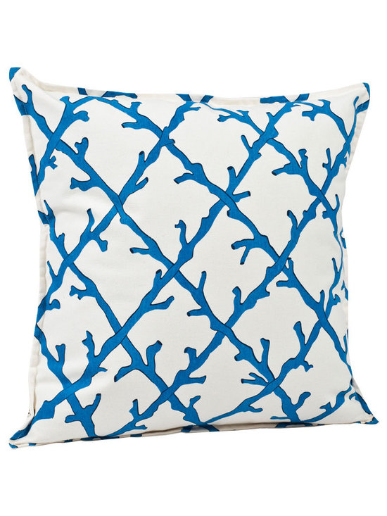ecoaccents Blue Coral Lattice Cotton Canvas Pillow