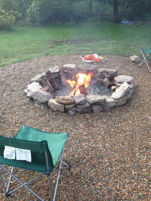 Natural stone fire pit fire pits boston for Backyard rock fire pit ideas