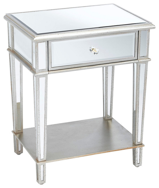 Roosevelt mirrored nightstand silver contemporary for Mirror nightstand