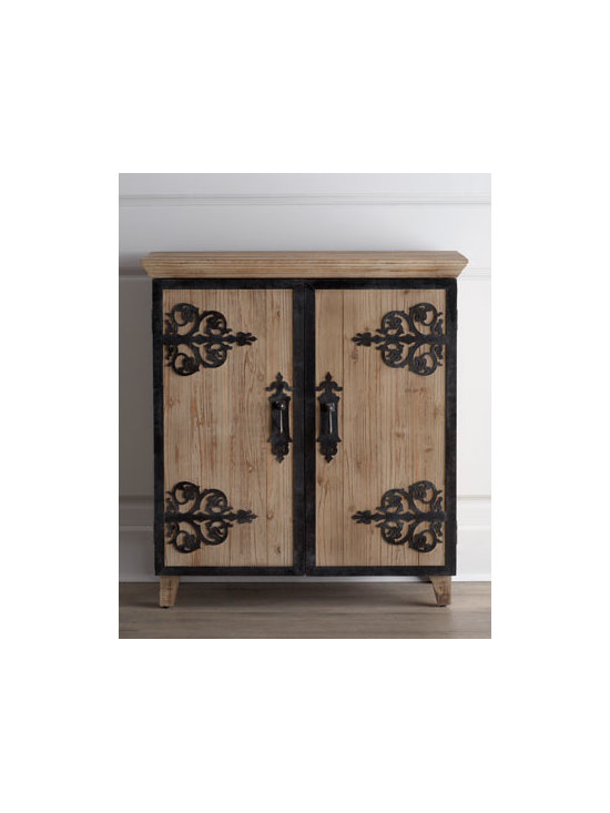 """Horchow - Loma Alta Chest - This ornately embellished chest brings a mix of rusticity and Mediterranean charm to hallways, entryways, and living spaces. Handcrafted of fir with wrought iron hinges and detailing. Two doors and one shelf. Lightly stained finish. 42""""W x 14""""D x 38""""T. Imported. Boxed weight, approximately 52"""