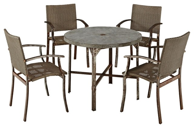 Rustic Lodge Urban 5 Piece Outdoor Dining Set Farmhouse Patio Furniture