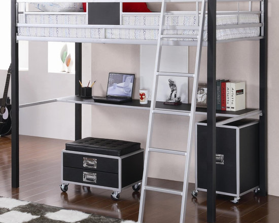 LeClair Metal Twin Loft Bed with Desk - A true space saver loft bed. Below, this loft bed includes a desk shelf, as well as an included metal ladder.
