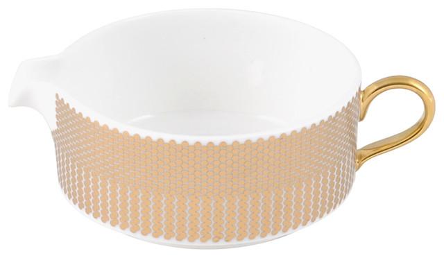 The New English Benday Gold Milk Jug modern-serving-utensils