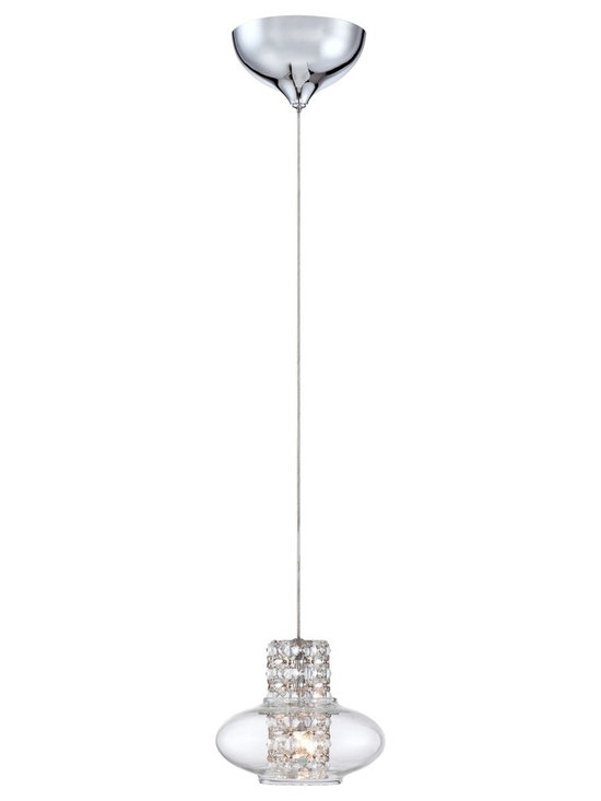 """Possini Euro Design - Possini Euro Vidrio 5 1/2"""" Wide Modern Crystal Mini Pendant - Modern mini pendant design. Clear crystal inner cylinder. Formed clear glass. Chrome finish. Includes 25 watt G4 low voltage halogen bulb. Measures 5 1/2"""" wide 4 1/2"""" high. Includes 9 1/2 feet of cord. Hang weight 1.35 lbs.  Modern mini pendant design.  Clear crystal inner cylinder.  Formed clear glass.  Chrome finish.  Includes 25 watt G4 halogen bulb.  Measures 5 1/2"""" wide 4 1/2"""" high.  Includes 9 1/2"""" feet of cord.  Hang weight 1.35 lbs.  Canopy is 3 1/2"""" wide."""