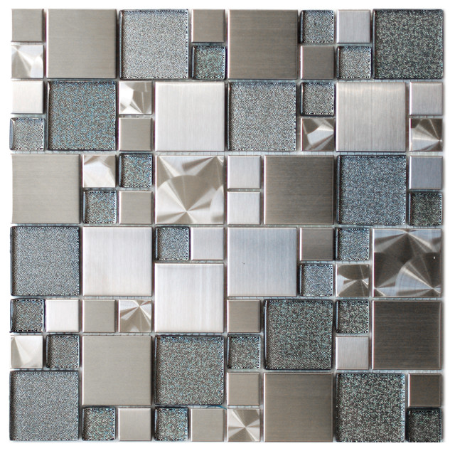 Sample Stainless Steel Metal Pattern Mosaic Tile Kitchen: Modern Cobble Stainless Steel With Silver Glass Tile