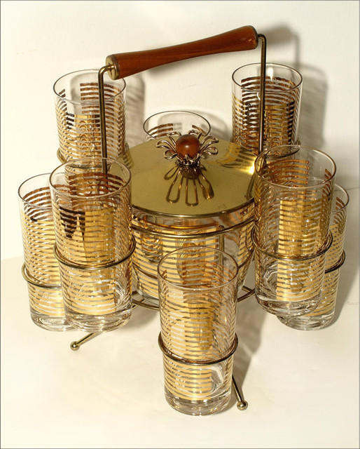 Gold Ice Bucket and Glass Caddy from Twinkle Star Crafts and Vintage eclectic-ice-tools-and-buckets