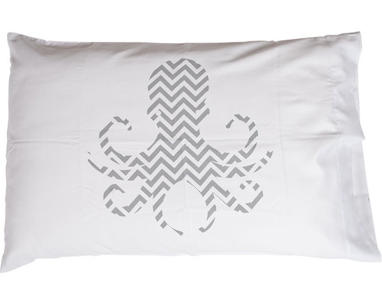 Jules Johnson Interiors Gray Chevron Octopus Pillowcases, Set of 2
