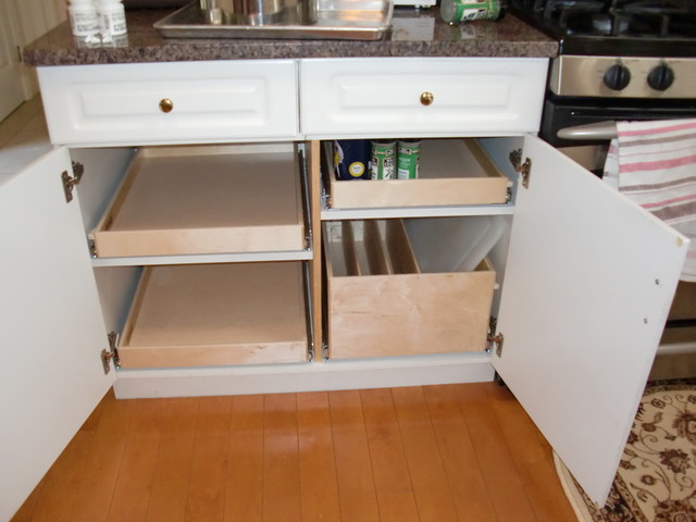 Pull Out Shelves and Pull Out Tray Bin - Kitchen Drawer Organizers ...