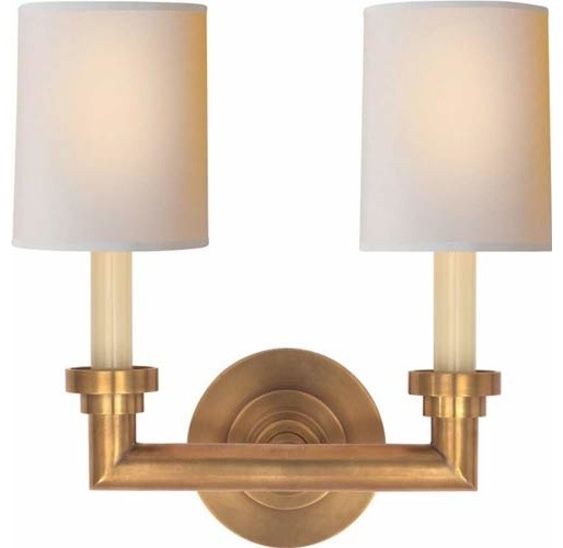 Vanity Sconces Bathroom : Antique Brass Wilton Double Sconce - Traditional - Bathroom Lighting And Vanity Lighting - by ...