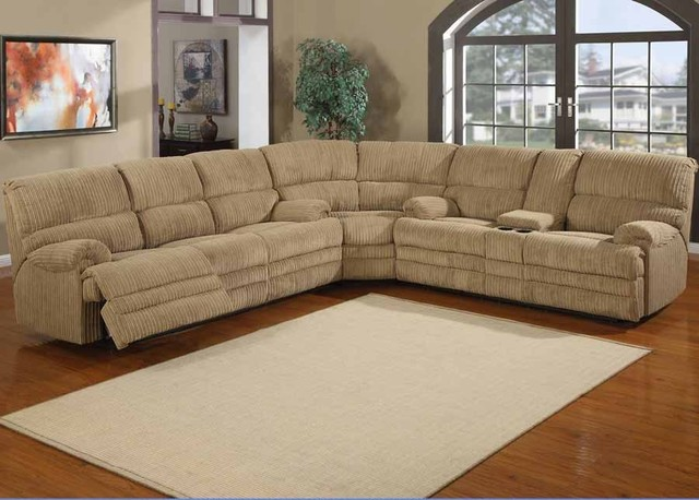 Denton chenille reclining sectional sofa traditional for Traditional sectional