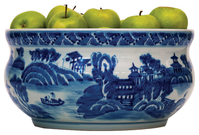 Summer Palace Chinese Hand Painted Blue White Basin Fruit Bowl transitional-bowls