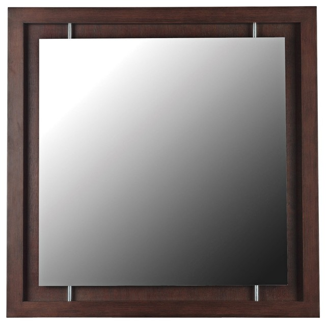 "Accent Mahogany Moderne 34"" Square Wall Mirror contemporary-mirrors"