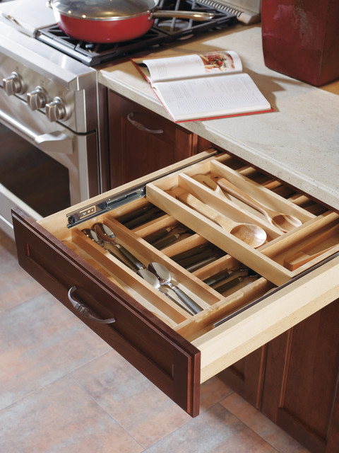Decora Wood Tiered Cutlery Kitchen Drawer Organizers