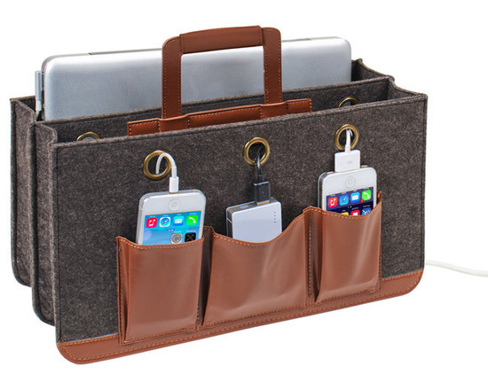 """Great Useful Stuff - Portable Tech Station - Rustic Modern - Keep all of your electronic devices protected, organized, and charged! This portable tech charging station will accommodate a tablet, a laptop (up to 15""""), a power strip and up to 3 cell phones in the front pockets.. All cords can be snaked through strategically placed grommeted holes and the large back pocket can be used to hide excess cords. Can be placed on the floor next to your sofa, on a table or bedside or anywhere you use your tech devices. The Portable Tech Station includes a middle handle, allowing you to get up and go with all your tech devices in tow."""