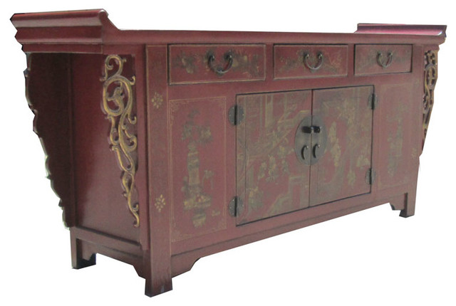 Caozhou antique red gold paint altar buffet table tv stand cabinet