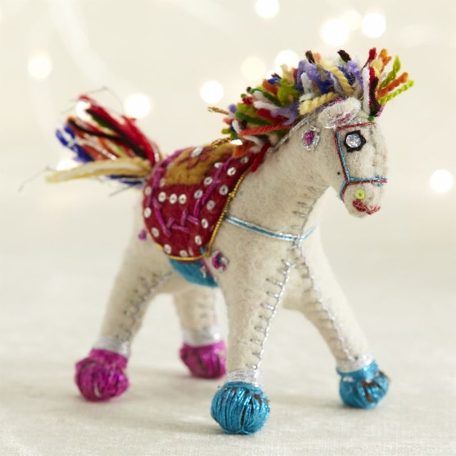 Christmas Tree Ornaments Horse: Global Horse Ornament