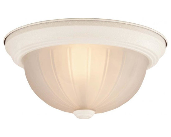 Joshua Marshal - Two Light Textured White Frosted Ribbed Glass Bowl Flush Mount - Two Light Textured White Frosted Ribbed Glass Bowl Flush Mount