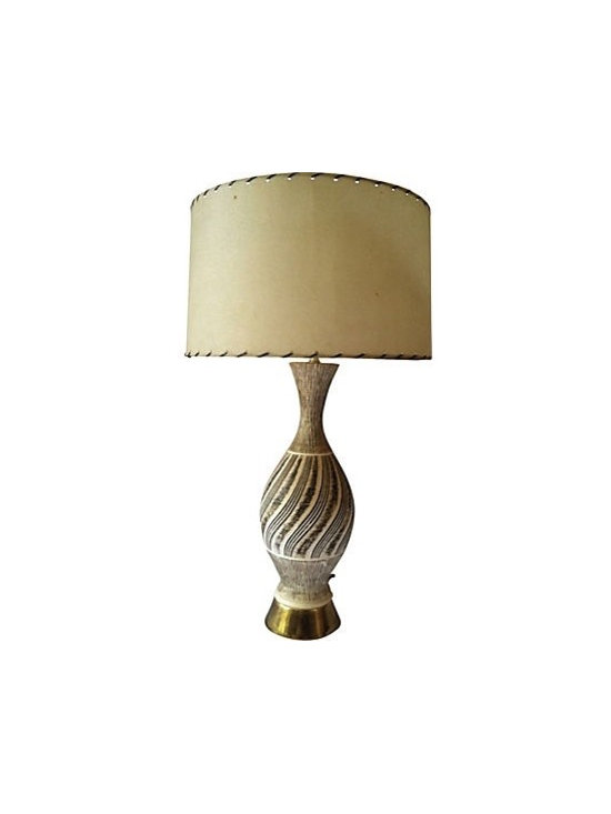 Mid Century Lamp - Wonderful cream and brown colored textured lamp by F.A.I.P (Fine Arts In Plaster).